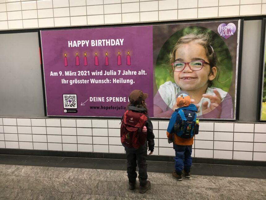 Plakatkampagne zu Julias 7. Geburtstag